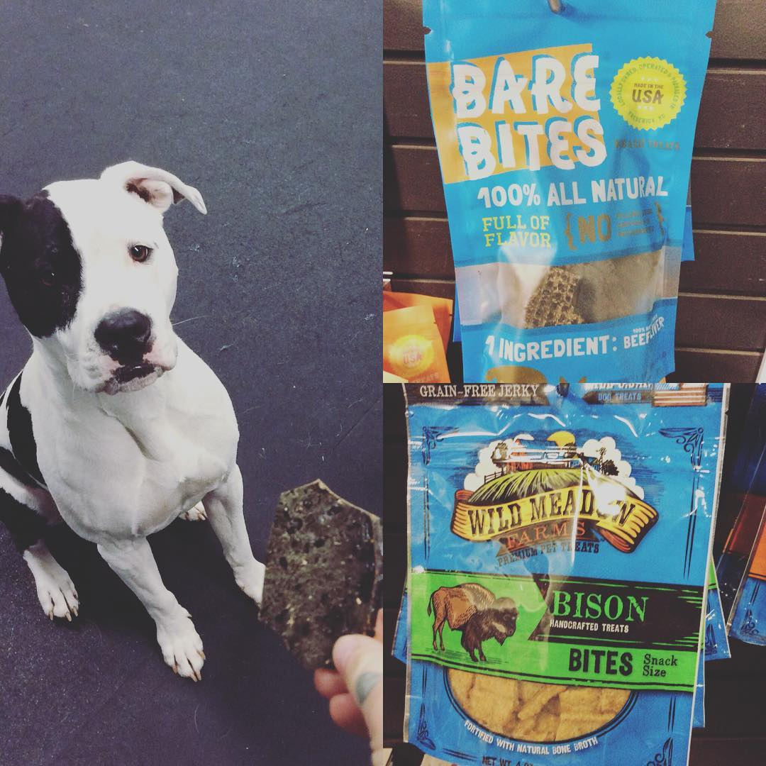 #barebites and #wildmeadows are @roostercogburn_thedog favorite snacks here at #zoomroomcc What's your dogs favorite treat we carry?